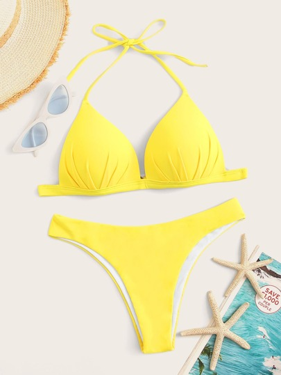 be4ab82ad1 Ruched Halter Top With Hipster Cheeky Bikini Set | SHEIN UK