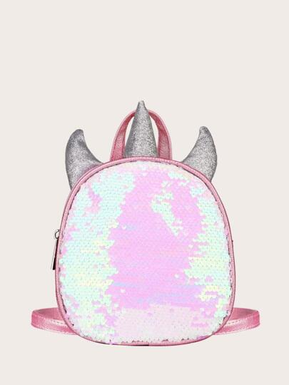 Sequins Decor Curved Top Backpack