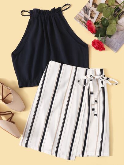 bb6316cff Solid Top With Striped Skirt