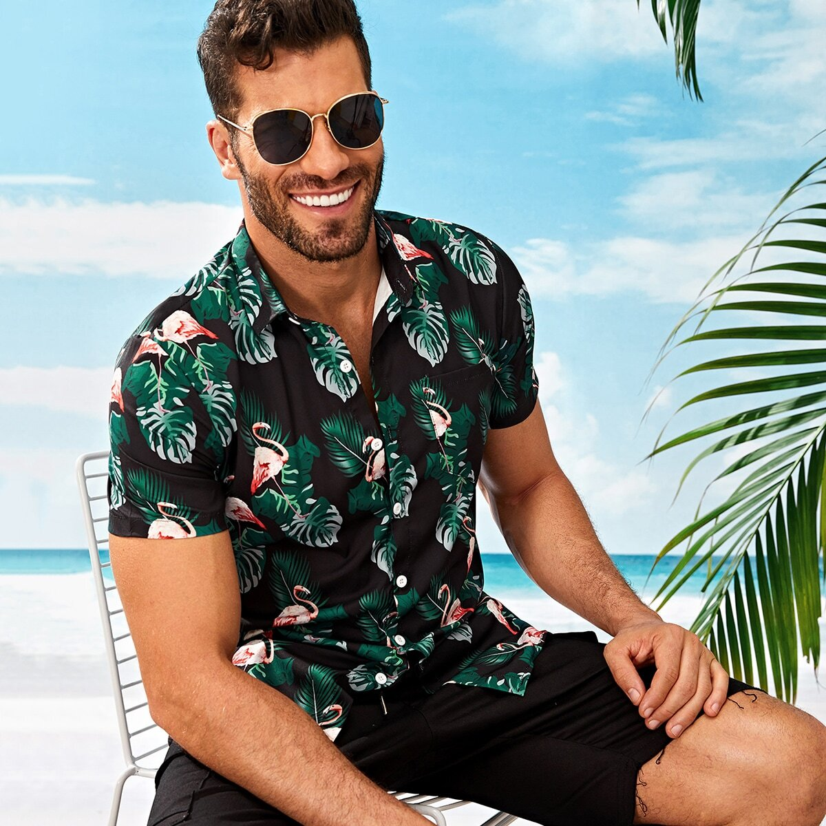 SHEIN coupon: Men Tropical & Flamingo Print Shirt