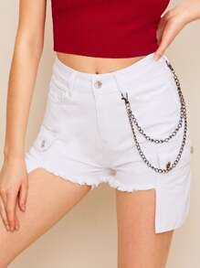 Raw Hem Flap Pocket Side Denim Shorts With Chain