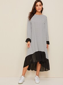Contrast Mesh Ruffle Trim Striped Swing Dress