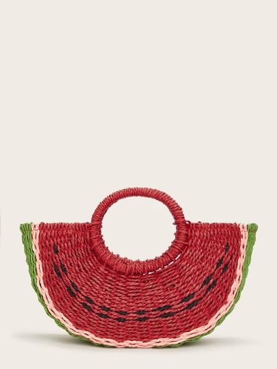 32c846defd4cdb Watermelon Shaped Woven Tote Bag