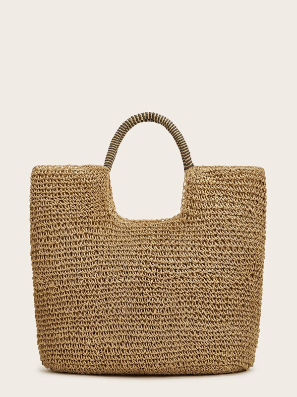 Solid Square Straw Tote Bag