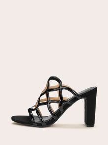 Open Toe Hollow Out Chunky Mules