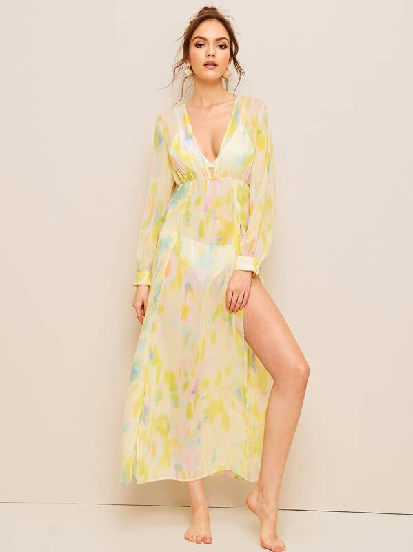a2194489854a3c Wrap High Split Front Sheer Cover Up Without Lingerie Set   SHEIN
