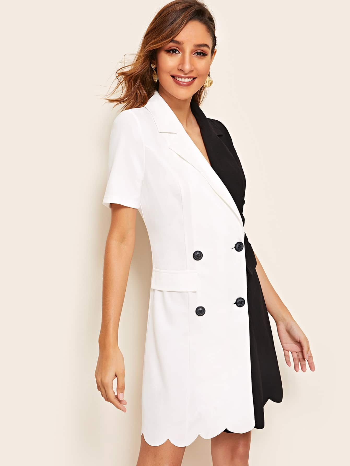 c5c981dc082d Double Breasted Two Tone Scalloped Blazer Dress | SHEIN IN