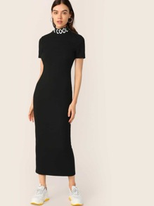 Lettering Neck Rib-knit Bodycon Dress