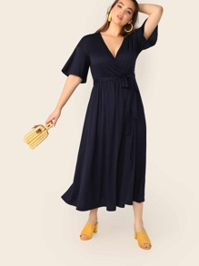 Plus Plunging Neck Self Belted Wrap Dress