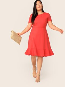 Plus Neon Orange Ruffle Hem Dress