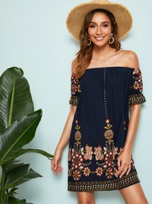 Tribal Floral Print Bardot Tunic Dress