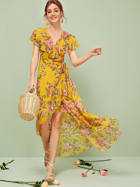 f3988f48f8 Floral Print Ruffle Trim Wrap Knotted Dress | SHEIN