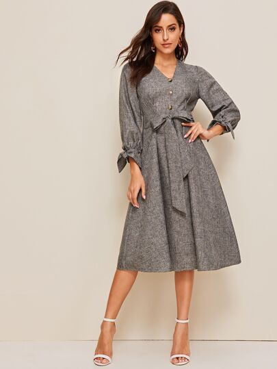 Button Front Knot Cuff Self Belted Dress