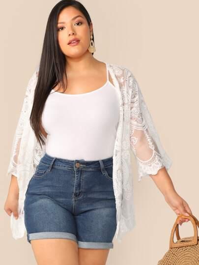 19da784378 Plus Size Kimonos, Shop Plus Size Kimonos Online | SHEIN UK