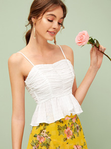 Zip Back Ruched Shirred Peplum Cami Top