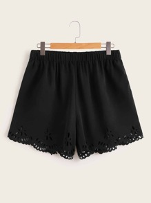 Plus Laser Cut Scallop Hem Shorts