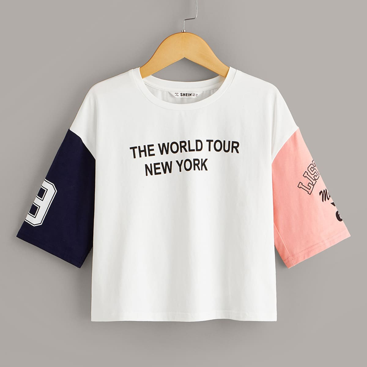 Контрастная футболка с текствоым принтом для девочек