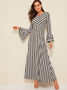 Layered Ruffle Sleeve Striped Dress
