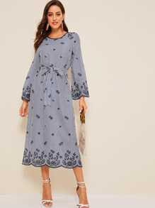 Bell Sleeve Eyelet Embroidered Striped Dress With Belt