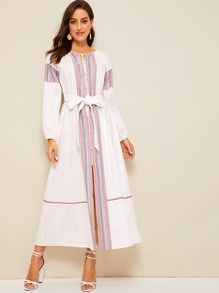 Tassel Tie Neck Geo Tape Detail Belted Abaya
