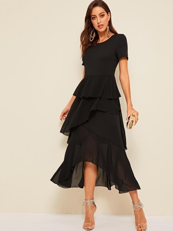 debc7b357 Layered Ruffle Asymmetric Hem Fit & Flare Dress | SHEIN UK