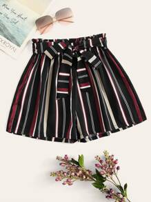 Plus Striped Wide Leg Shorts