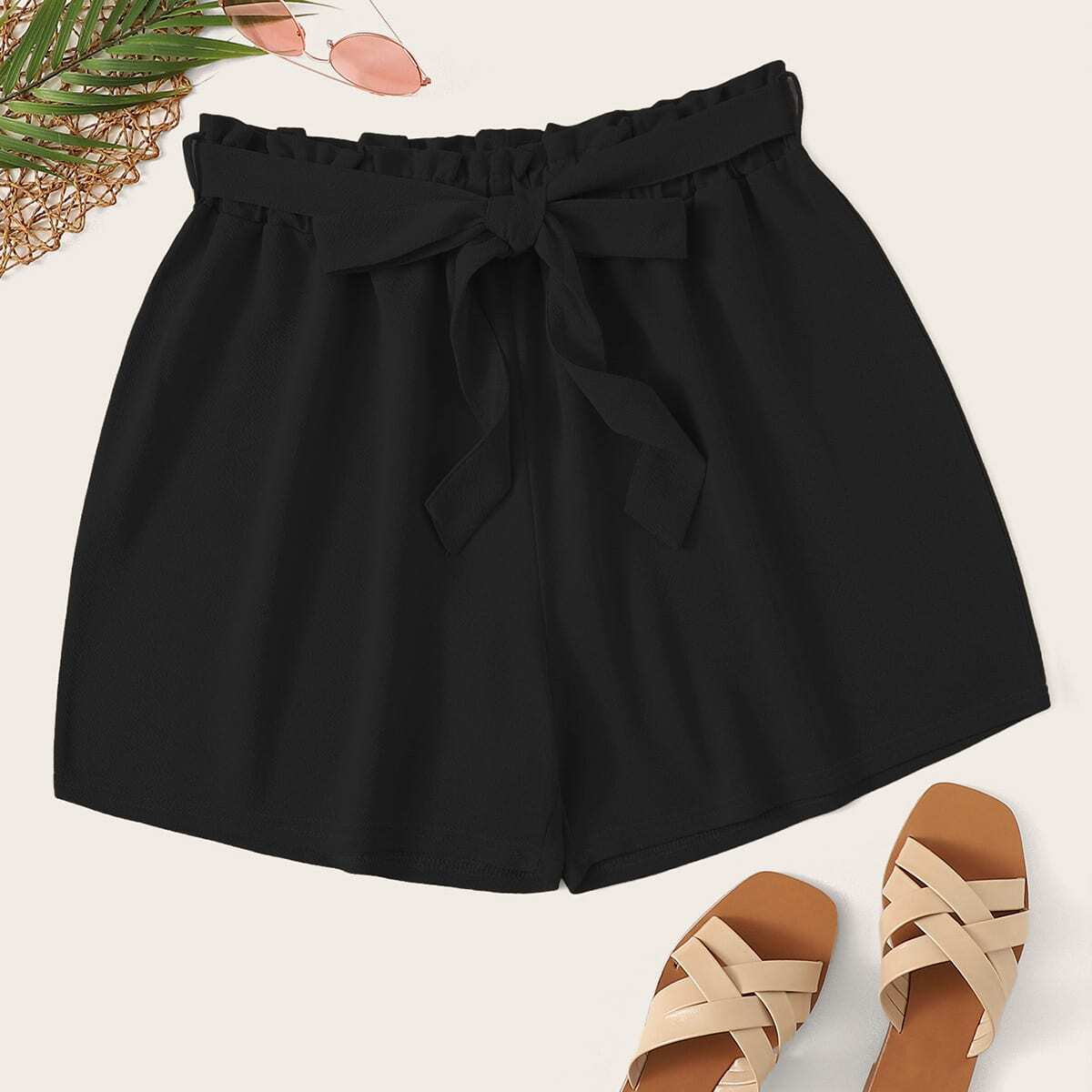 Plus Frill Waist Belted Shorts