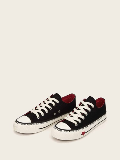 Slogan Print Lace-up Front Sneakers