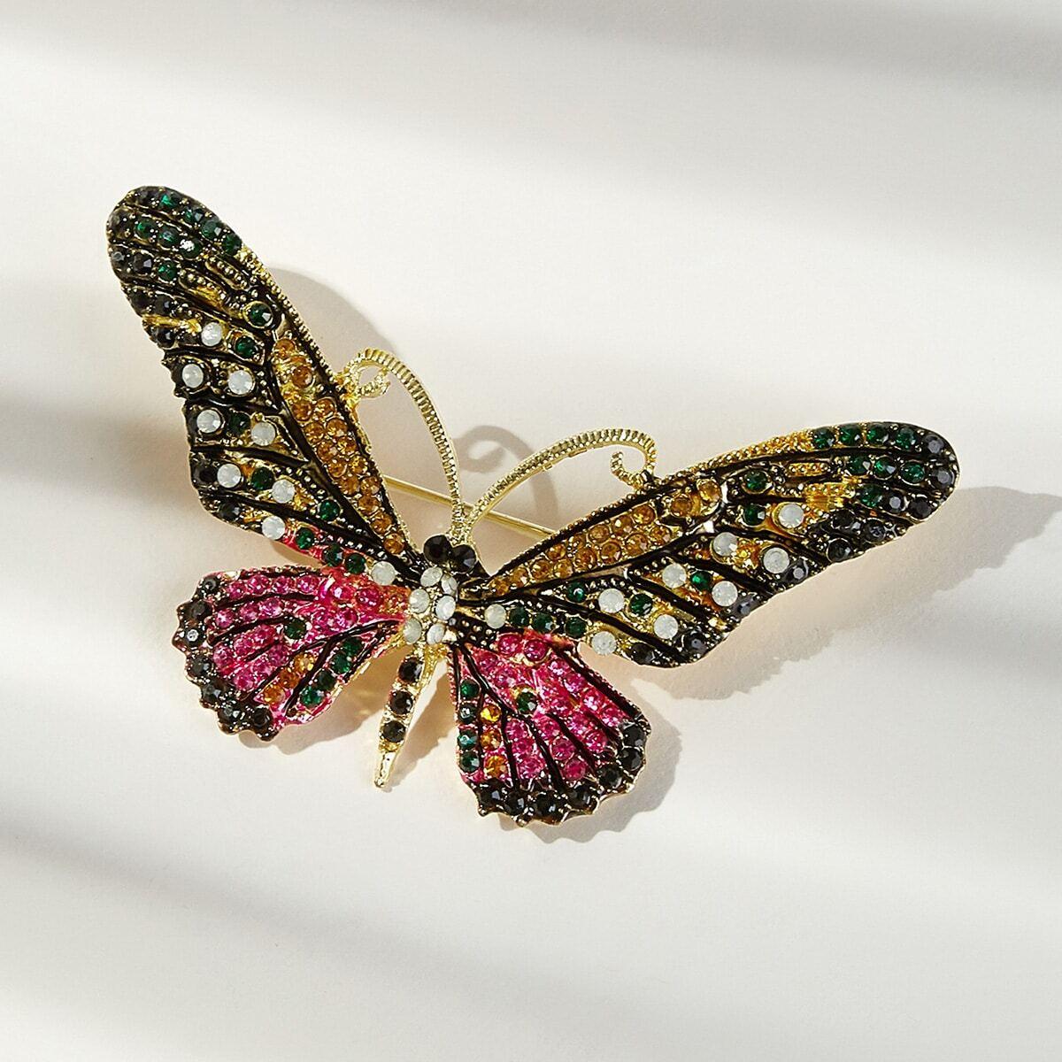 Schmetterlinge Brosche mit Strass Dekor 1pc