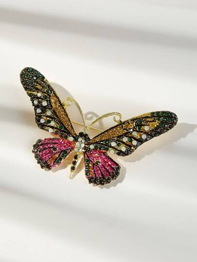 Rhinestone Decor Butterfly Shaped Brooch 1pc