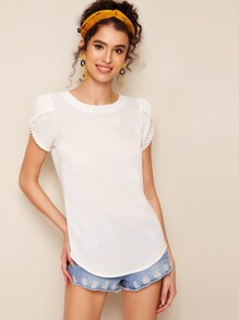 Solid Curved Hem Petal Sleeve Blouse