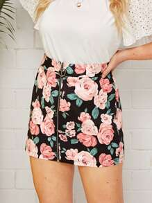 Plus Floral Print O-Ring Zip Front Skirt
