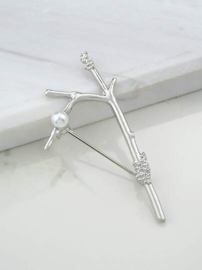 Silver Simulated-Pearl Tree Branches Brooch