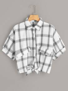 Glen Plaid Tie Front Button Front Blouse