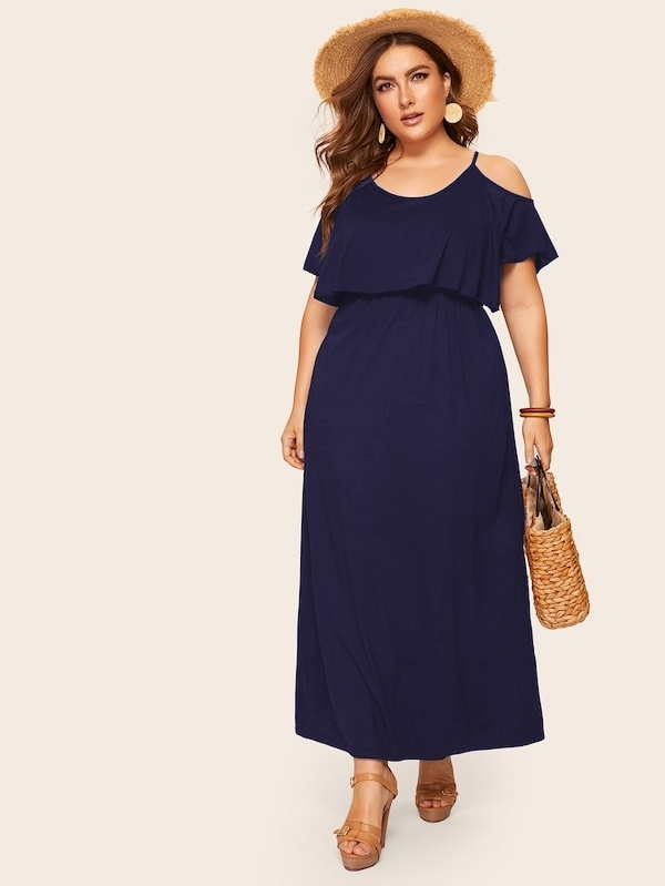 320c342869d26 Übergroßes Reines Schulterfreies Kleid   SHEIN