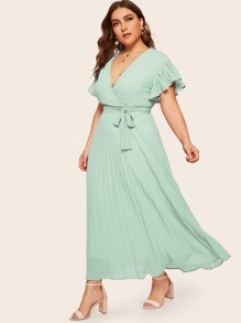 Plus Pleated V-neck Belted Dress