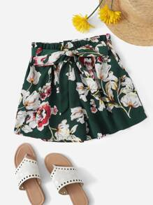 Plus Floral Print Frill Waist Belted Shorts