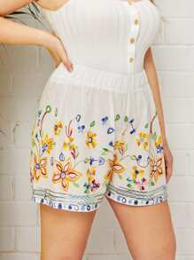 Plus Floral Embroidery Shorts