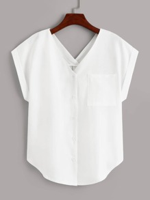 V-neck Button Front Pocket Blouse
