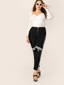 Plus Zipper Fly Contrast PU & Striped Pants