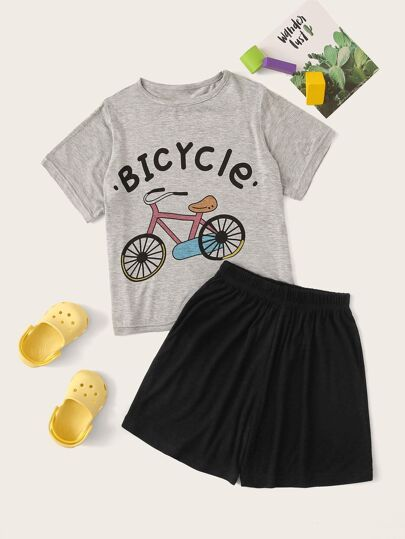 Boys Bicycle & Letter Print Pajama Set