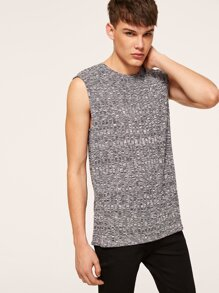 Men Sleeveless Fitted Textured Tank Top