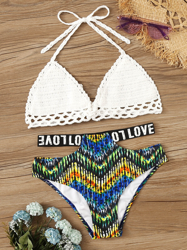 c22c7dc01c7a Crochet Halter Top With Random Graphic Bikini Set | SHEIN UK