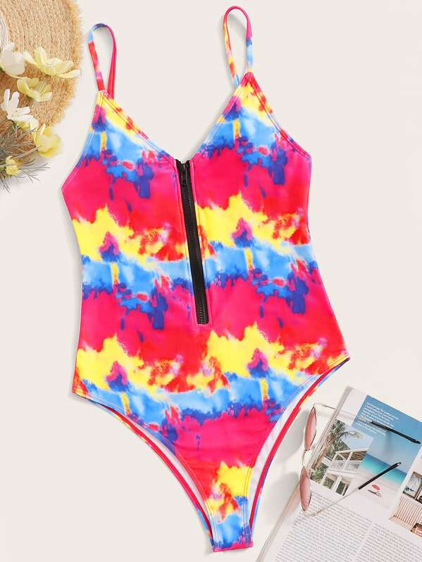 04ff71f8c5 Random Tie Dye Zip Front One Piece Swimsuit | SHEIN