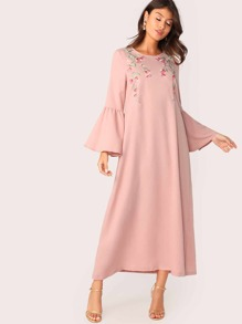 Bell Sleeve Flower Embroidered Tunic Dress