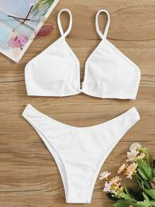 Ribbed Plunging Top With High Cut Bikini Set