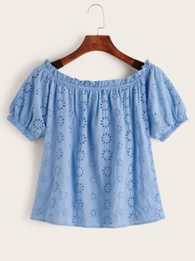 Off Shoulder Ruffle Trim Embroidery Eyelet Top