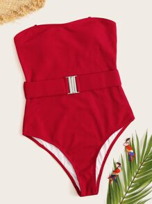 Rib-knit Belted Tube One Piece Swimsuit