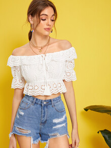 Tie Neck Ruffle Foldover Schiffy Top