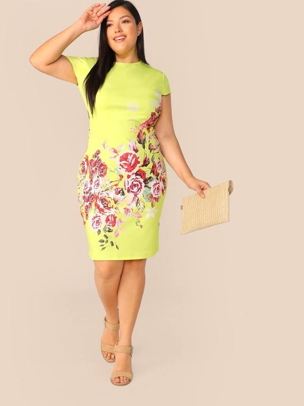 Plus Neon Yellow Floral Print Pencil Dress